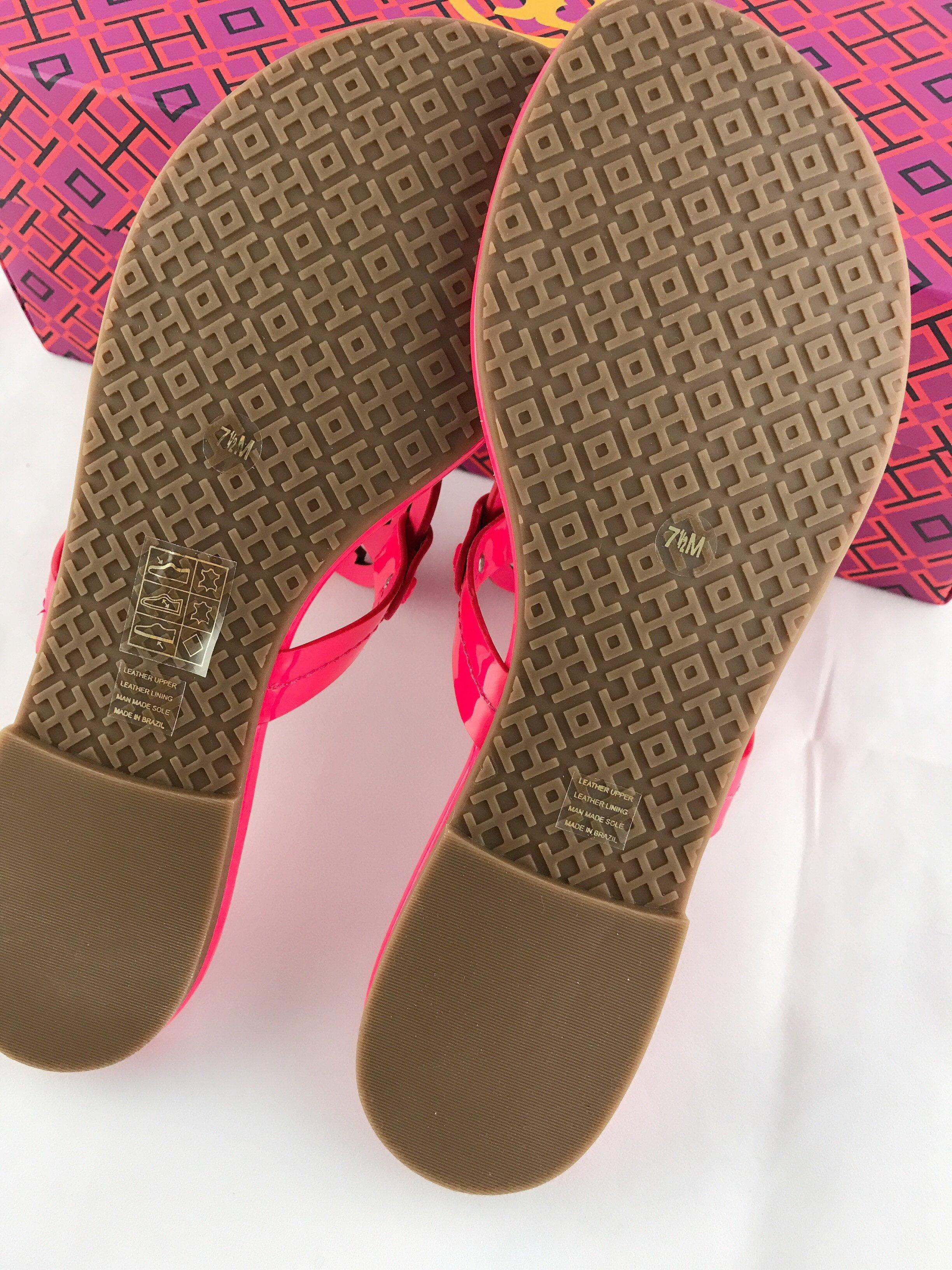 0fcc45a5137b9e Tory Burch - Tory Burch Miller Sandals Thong Flip Flop Patent Leather Neon  Pink 7.5 Fuchsia - Walmart.com
