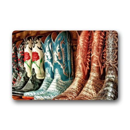 WinHome Colorful Cowboy Boots Doormat Floor Mats Rugs Outdoors/Indoor Doormat Size 23.6x15.7 inches