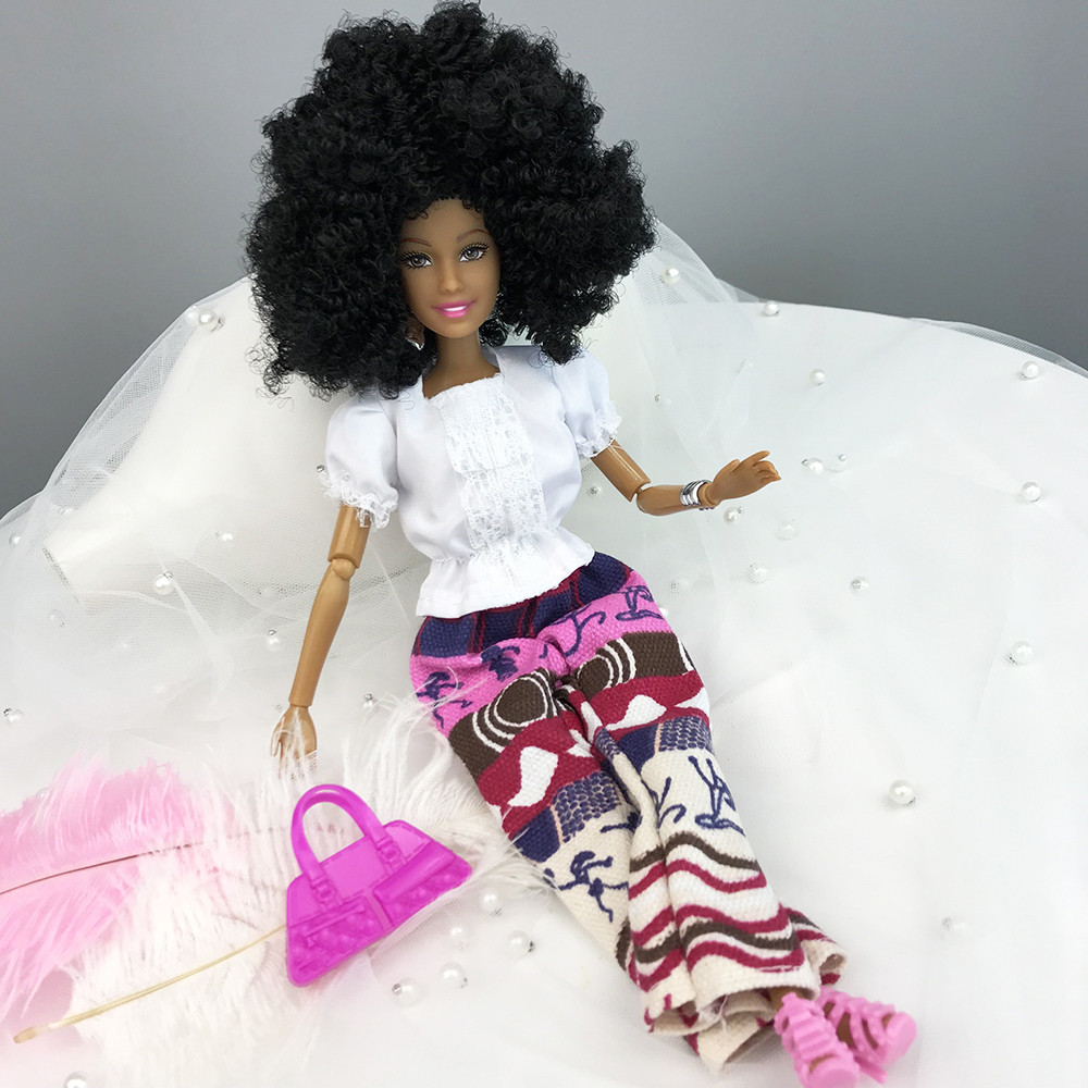 Iuhan Baby Movable Joint African Doll Toy Black Doll Best Gift Toy