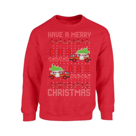 Mezee Fire Truck Christmas Sweatshirt Toy Truck Ugly Christmas Sweater Funny Christmas Gifts Firefighter Holiday Sweatshirt Xmas Party Outfit Christmas Gifts for - Fire Fighter Outfit