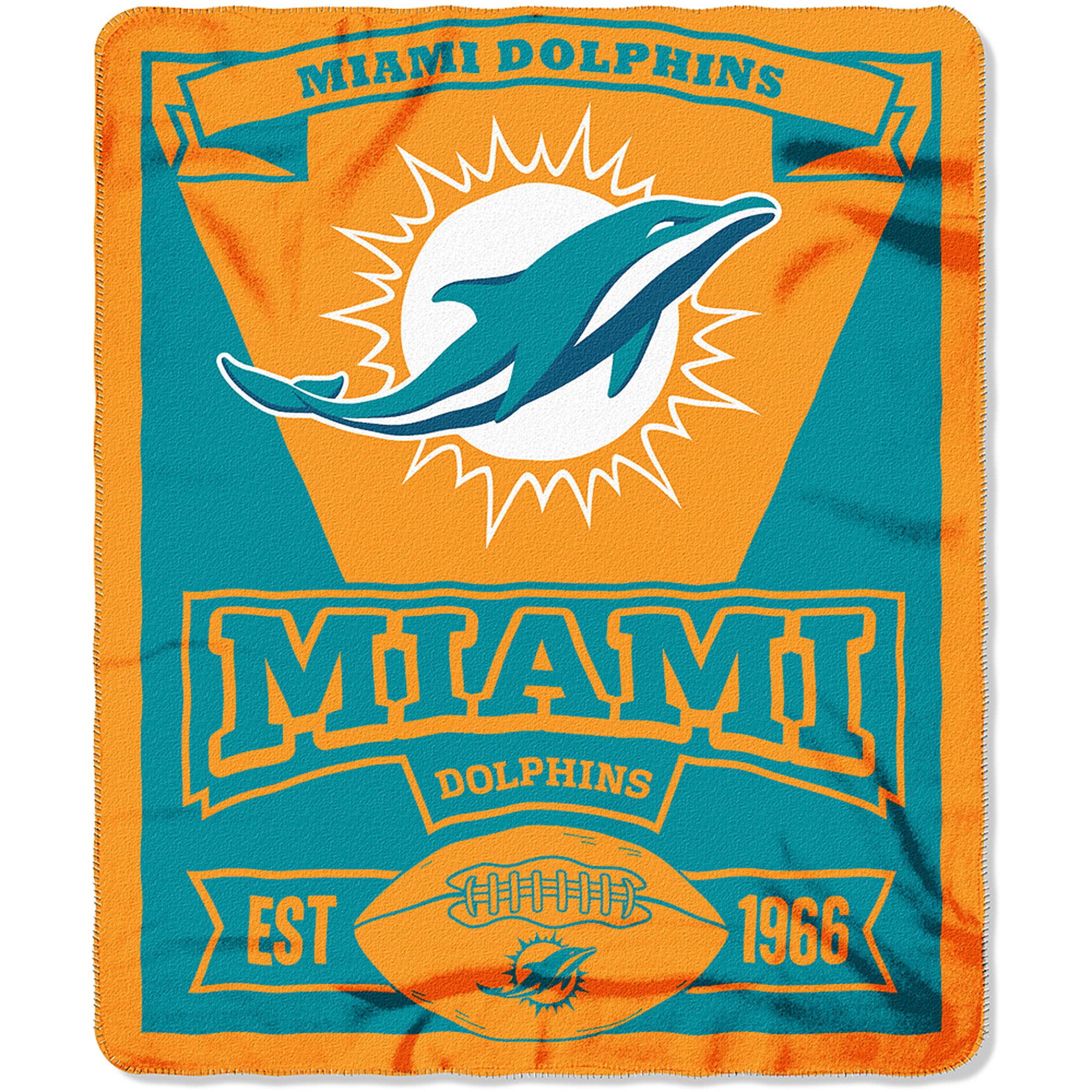 Northwest Miami Dolphins NFL Marque Design 50x60 Fleece Throw Blanket