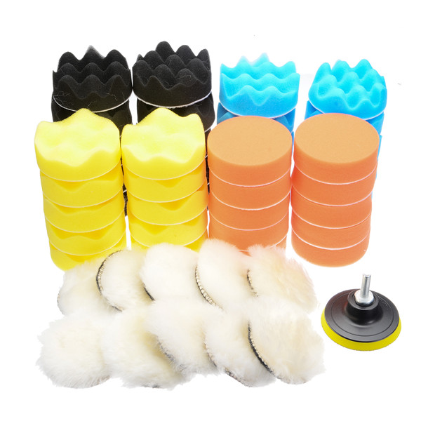 """50Pcs 80mm 3"""" Inch Buffing Polishing Sponge Pad Buffer Kit For Electric Car Auto Polishers With Drill Adapter"""