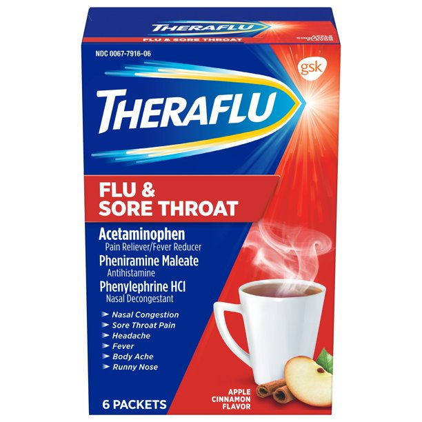 Theraflu Flu & Sore Throat Apple Cinnamon Hot Liquid Powder for Cold & Flu Relief, 6 count