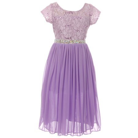 BluNight Collection - Little Girl Sparkle Sequin Lace Chiffon Junior Bridesmaid Flower Girl Dress USA Flower Girl Dress Flower Girl Dress (K64K35) Lavender ...