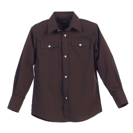 Gioberti Boys Casual Western Solid Long Sleeve Shirt With Pearl (Western Cowboy Pearl Snap Shirt)
