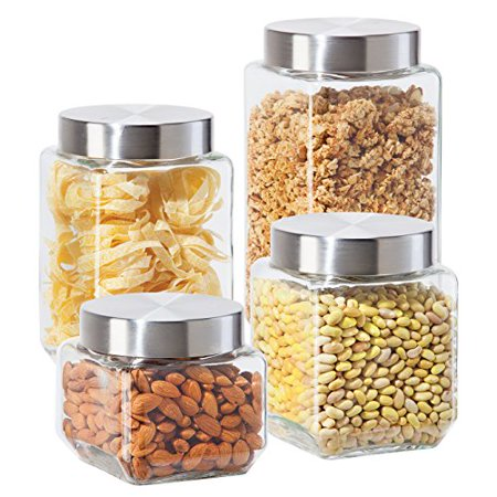 Oggi 4 Piece Square Glass Canister Set with Stainless Steel Screw-on Lids, (Glass Lid Stainless Steel)