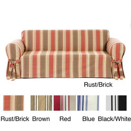 Csi Classic Stripe Cotton Loveseat Slipcover