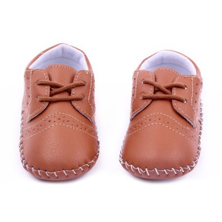 Kacakid 0-12M Infant Baby Girls Boy Handmade PU Leather Crib Shoes Kids Soft Sole Loafers Toddler -