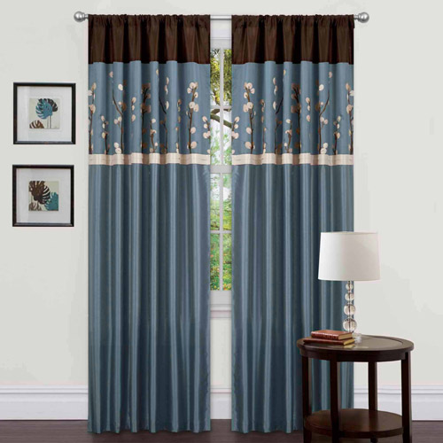 """Cocoa Blossom Window Curtains, Pair, 42"""" x 84"""""""