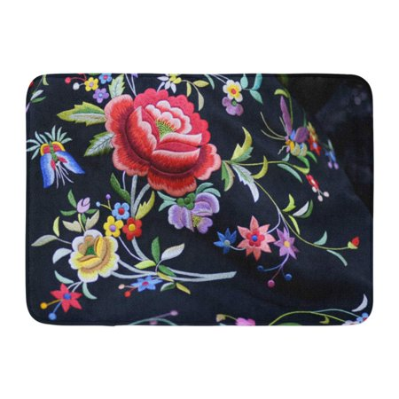 Embroidered Mat Standard - GODPOK Embroidered Shawl Italy Sardinia Silk Rug Doormat Bath Mat 23.6x15.7 inch