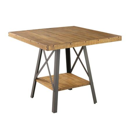 Ridge Gathering Table Set - Emerald Home Chandler Rustic Brown and Antique Black Metal 42