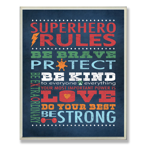 Stupell Industries The Kids Room 'Superhero Rules' Canvas Wall Art