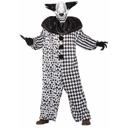 Evil Al The Clown Adult Scary Black & White Jester Halloween Costume
