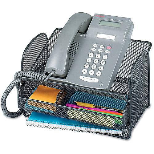 Safco Onyx Angled Mesh Steel Telephone Stand, Black