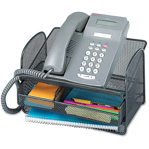 Safco Onyx Angled Mesh Steel Telephone Stand, Black