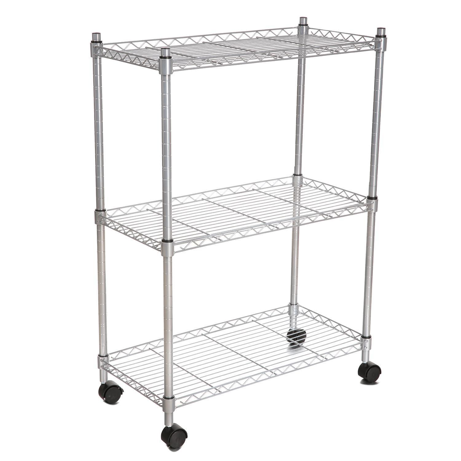 Shopifystore Clearance! Modern 3 Tier Wire Shelf Shelving Kitchen Rack Heavy Duty Microwave Oven Stand Storage Cart with Wheels