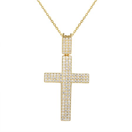 Gold Tone Womens Cross Pendant Jesus Religious Iced Out 925 Silver Free Necklace