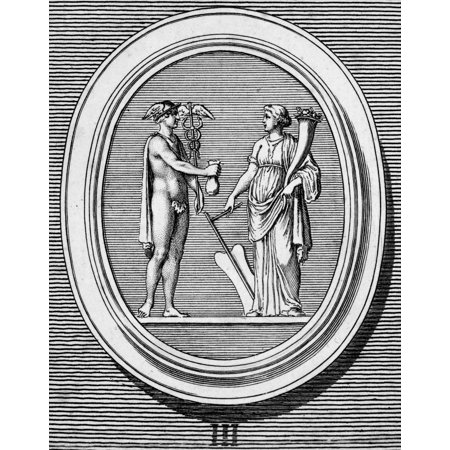 Mercury And Fortune Nmercury  Greek Name Hermes  Giving Up His Purse To Fortune Copper Engraving French Late 18Th Century Poster Print By Granger Collection