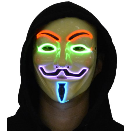 Jennis V for Vendetta Guy Fawkes Anonymous Neon LED Light Up Mask Stylish Halloween Fancy Dress Face Multicolor for $<!---->