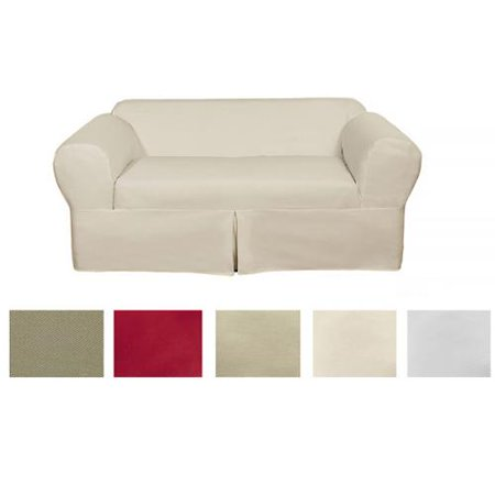 Classic Two Piece Twill Loveseat Slipcover Natural Twill Loveseat 2 Piece