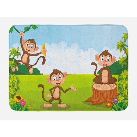 Nursery Bath Mat, Three Monkeys Playing in a Tropical Forest Banana Africa Safari Nature, Non-Slip Plush Mat Bathroom Kitchen Laundry Room Decor, 29.5 X 17.5 Inches, Pale Blue Brown Green, Ambesonne