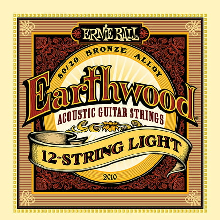 Earthwood 12-String Light 80/20 Bronze Acoustic Set, .009 - .046, Wound Strings are 80% copper, 20% zinc wire wrapped around hex shaped tin plated steel core wire By Ernie Ball