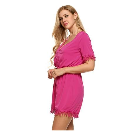 3b34718728 BLUETIMEUS Plus Size Deep V-Neck Short Sleeve Lace Trim Solid Romper BlETE  - Walmart.com