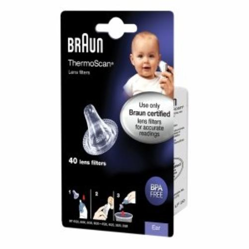 Braun Ear Thermometer Lens Filters - Latex-free, Bpa Free, Prevents Germs - 40 / Box (lf40us01)