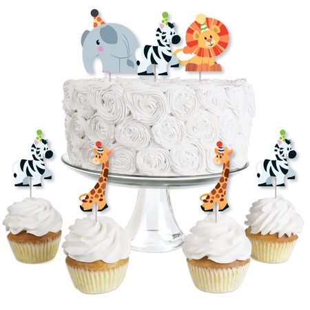Jungle Party Animals - Dessert Cupcake Toppers - Safari Zoo Animal Birthday Party or Baby Shower Clear Treat Picks-24 Ct (Jungle Birthday Supplies)