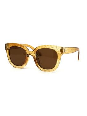 Child Size Girls Thick Glitter Plastic Horn Rim Retro Sunglasses Slate Black