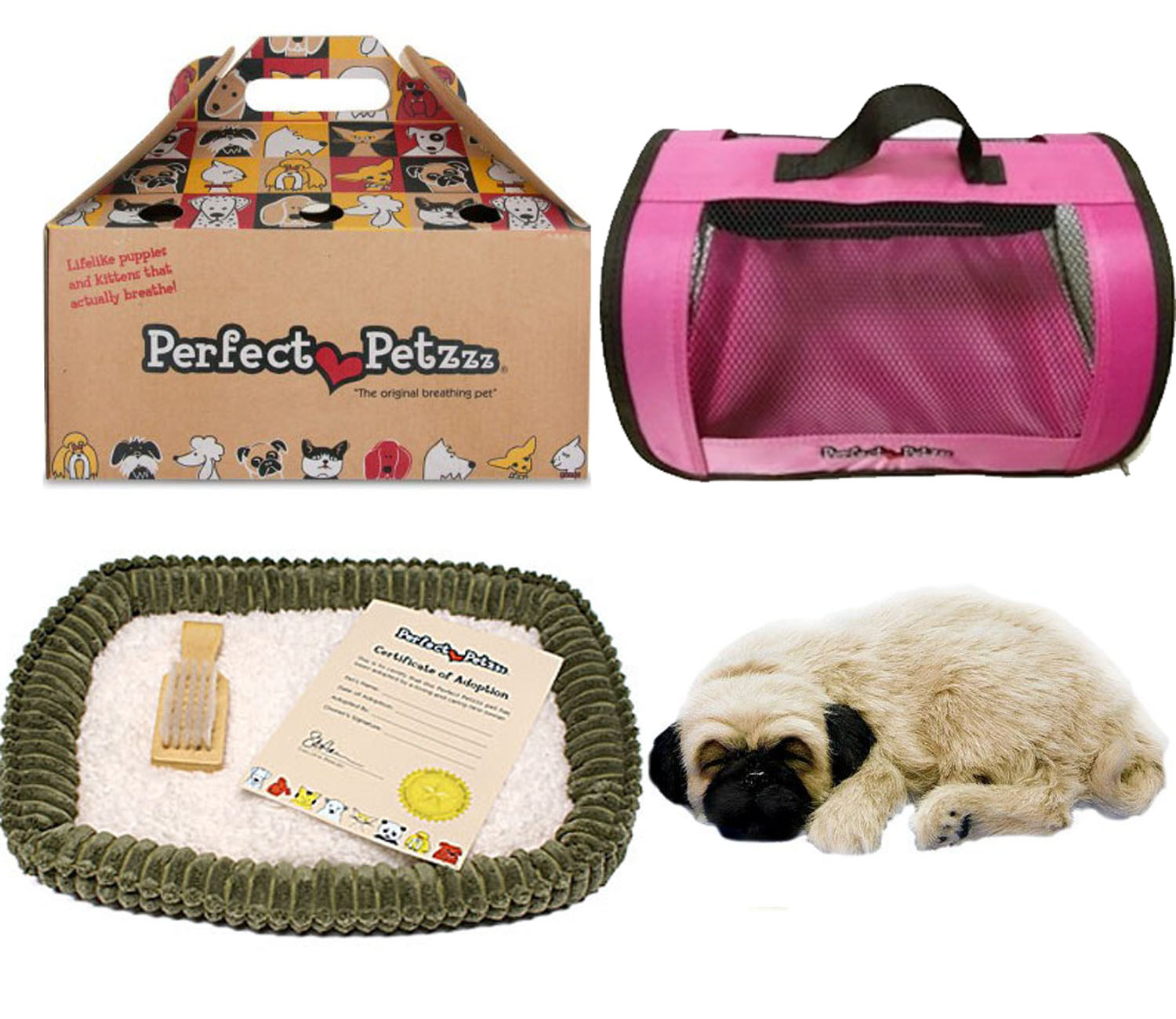 perfect petzzz pug perfect petzzz huggable pug puppy with pink tote for plush 6084