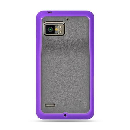 Insten Rubber TPU Clear Case Cover For Motorola Droid Bionic XT875 Targa, Purple (Droid Bionic Battery Cover)