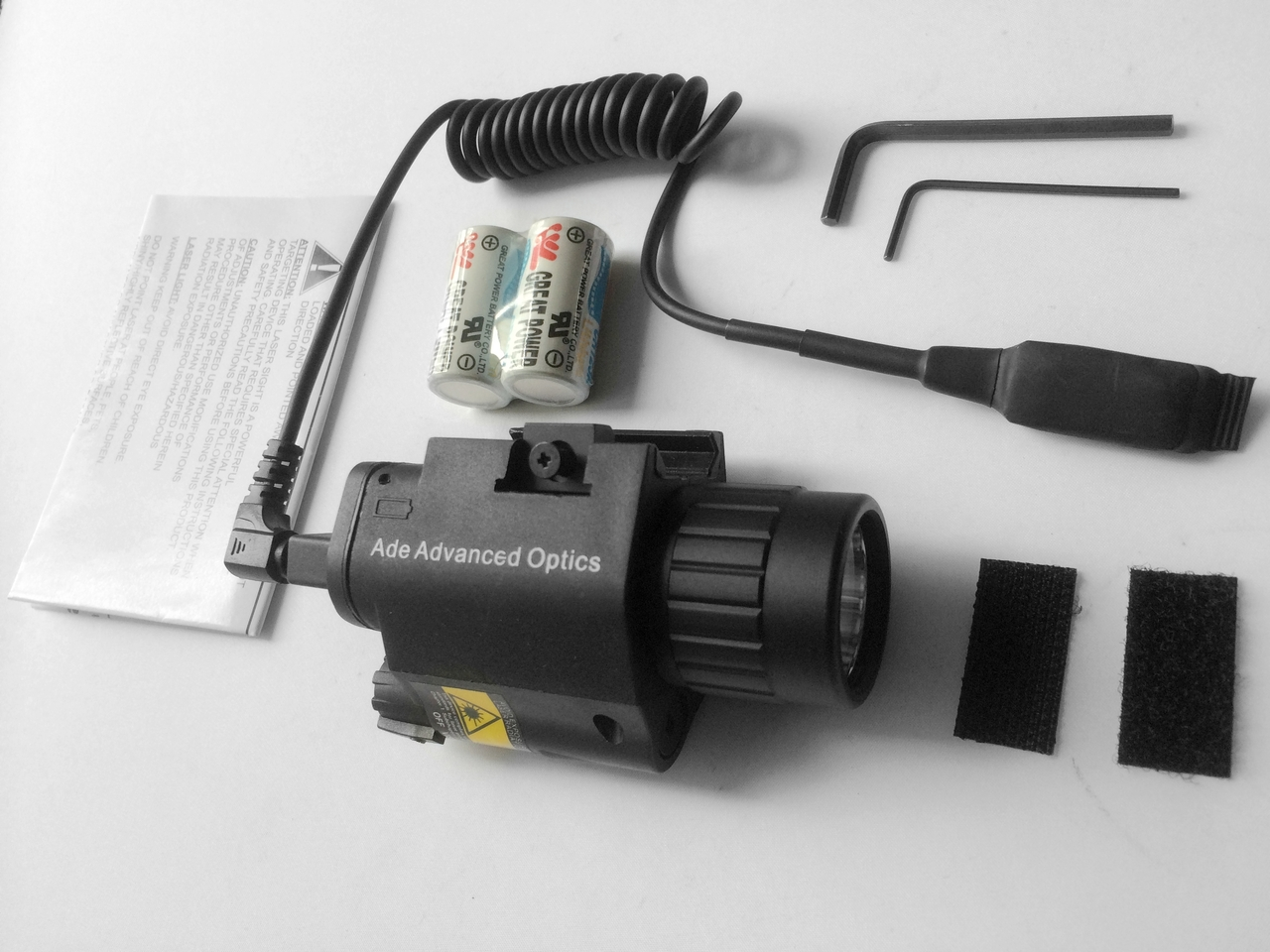 Rifle Tactical 200 Lumen CREE LED FlashLight + RED Laser Sight + Pressure Switch by Ade Advanced Optics by