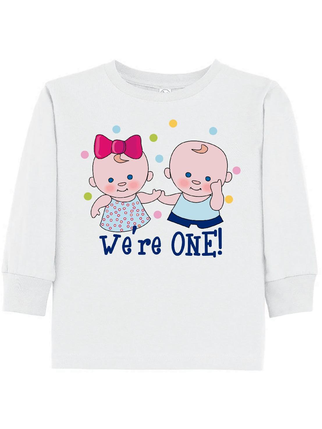 We're One Twin Boy & Girl Toddler Long Sleeve T-Shirt