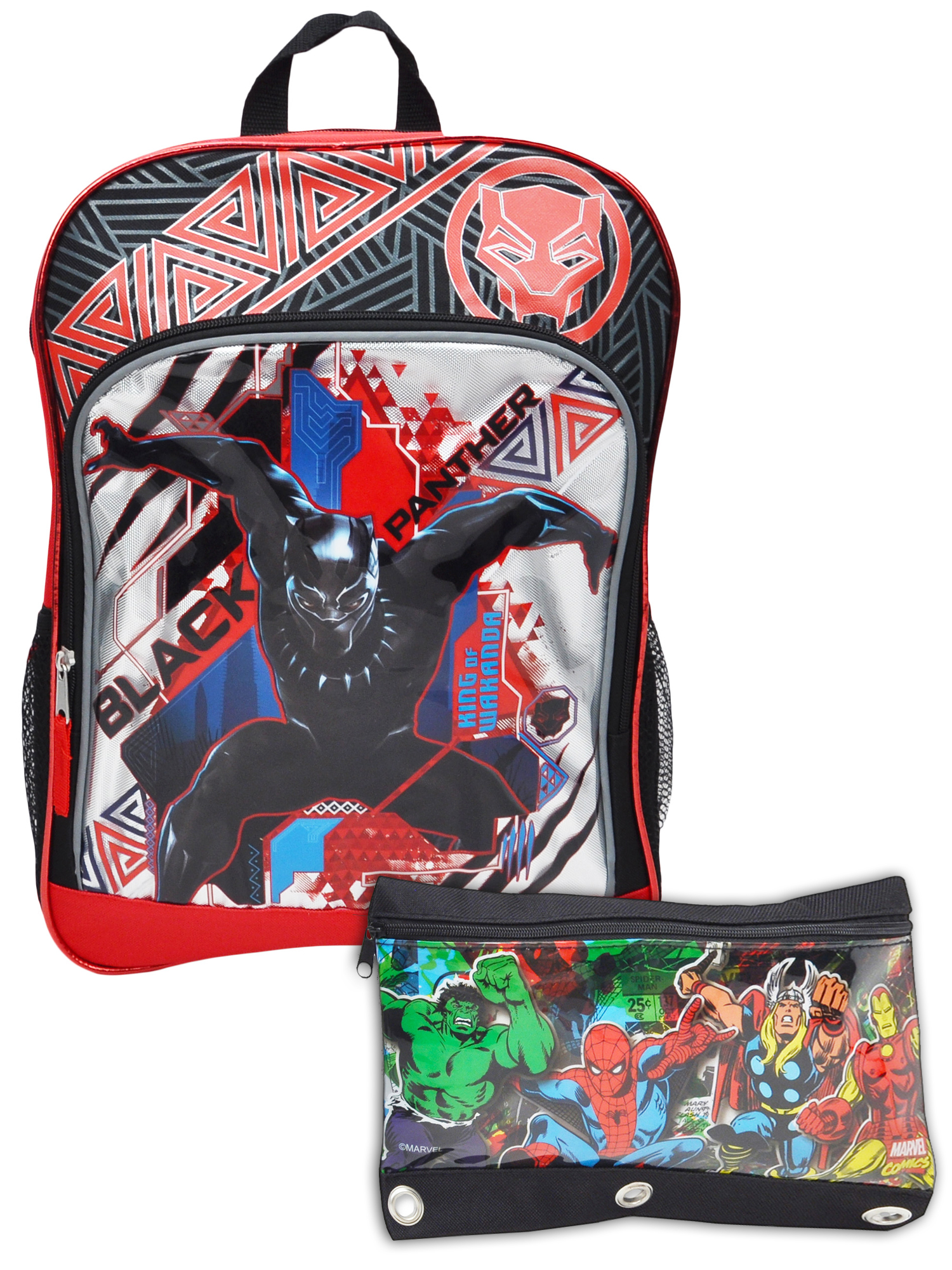 Boys Black Panther Superhero Backpack & 3-Ring Avengers Pencil Pouch