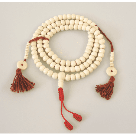 Prayer Bead Necklace - Hands Of Tibet Yak Bone Mala 108 Beads Necklace, Natural Himalaya Yak Bone Prayer Beads Wrist Mala Wrap Bracelet Yoga Healing for Meditation Many Choice (White Plain)