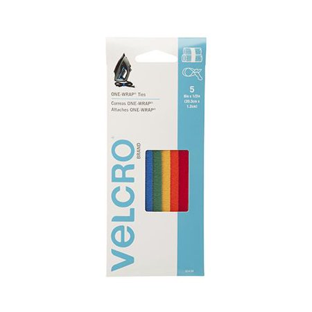 Velcro Usa Consumer Pdts 90438 One Wrap  Fastener Ties  Multi Color  8 X 1 2 In   5 Ct