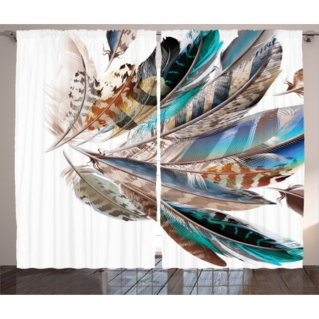 Feather House Decor Curtains 2 Panels Set, Vaned Types and Natal Contour Flight Feathers Animal Skin Element Print, Window Drapes for Living Room Bedroom, 108W X 84L Inches, Teal Brown, by