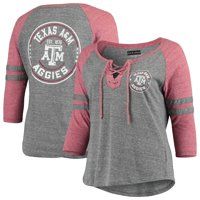 Texas A&M Aggies 5th & Ocean by New Era Women's Plus Size Lace-Up Raglan 3/4-Sleeve Tri-Blend T-Shirt - Heathered