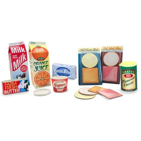 Melissa & Doug Fridge Groceries Play Food Cartons, 8pc, Toy Kitchen Accessories