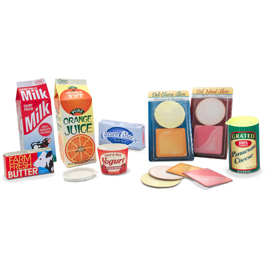 Melissa & Doug Fridge Groceries Play Food Cartons, 8pc, Toy Kitchen Accessories