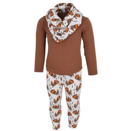 Girls 3 Piece Thanksgiving Fun Turkey Print Legging Set (6)