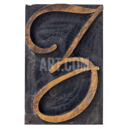 Ornamental Letter Z - Script Font - Isolated Letterpress Wood Type Printing Block Print Wall Art By