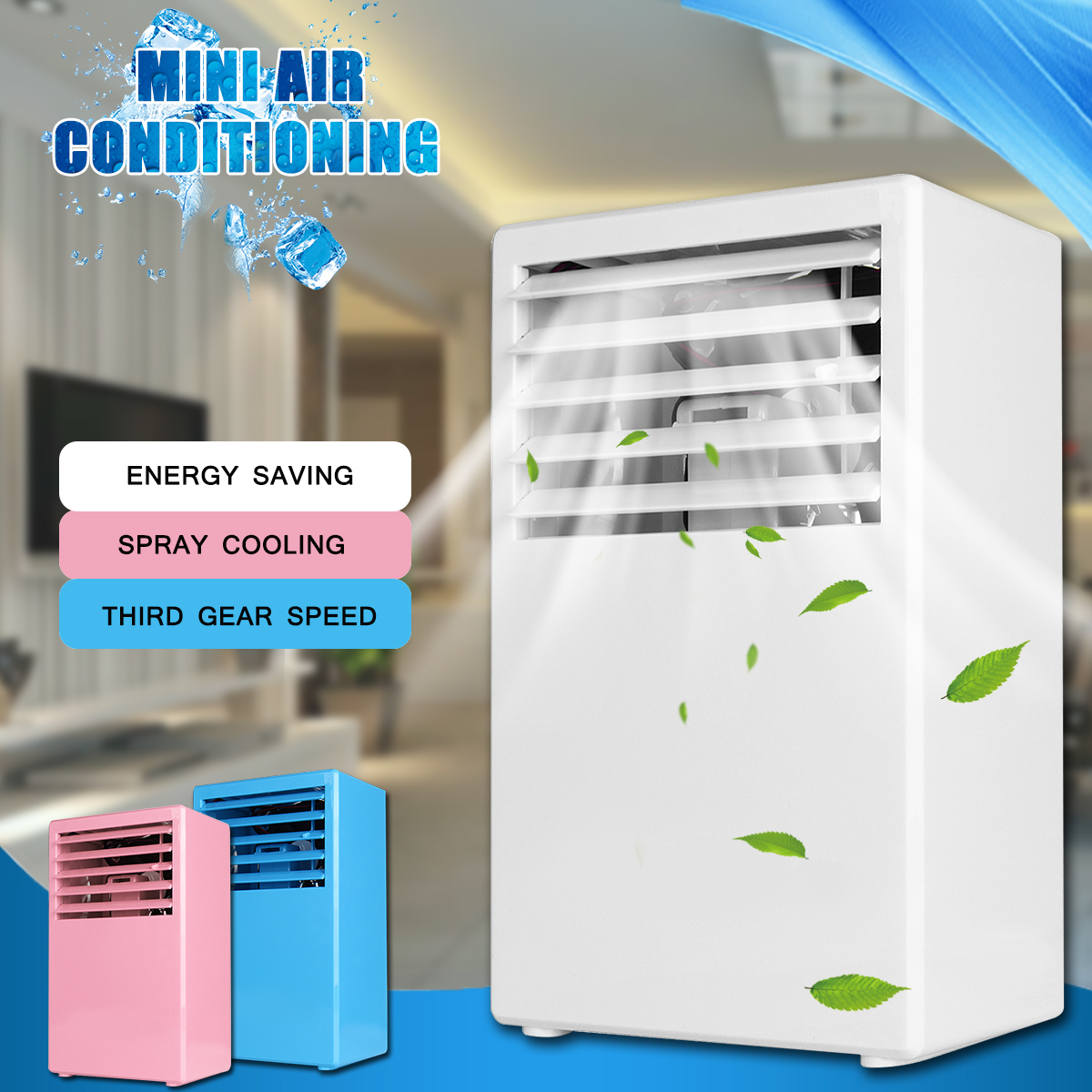 3 Speed Portable Handheld Mini Air Conditioning Spray Cooling electric Fan Touch Control