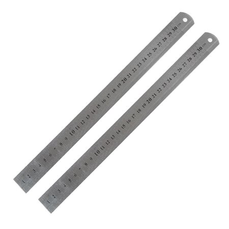 Unique Bargains 2Pcs 12 Inch Stainless Steel Straight Rulers Measuring Kit Metric 30Cm