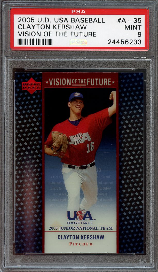 2005 Upper Deck Baseball Visions Of The Future A35 Clayton Kershaw Rookie Psa 9