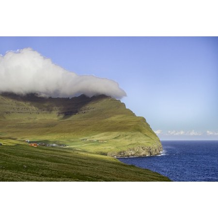 Canvas Print Faroe Islands Clouds Moutain Blue Green Stretched Canvas 10 x (Faroe Islands Ships)