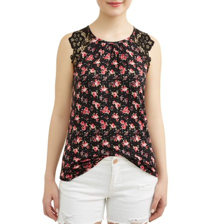 Juniors' Printed Crochet Lace Sleeve Tank