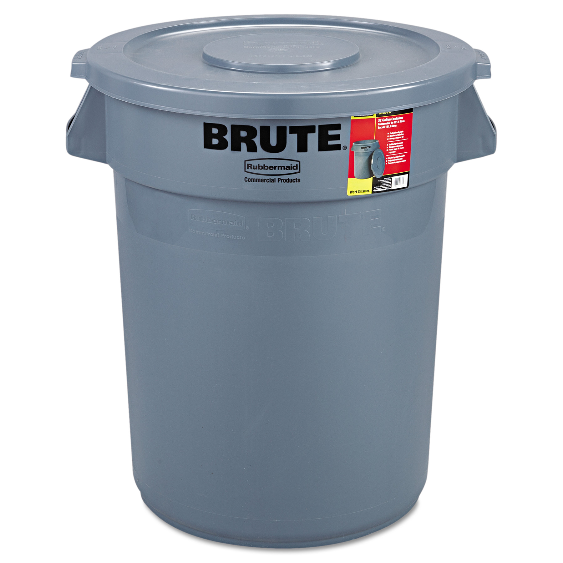 Rubbermaid Commercial Brute Container All-Inclusive, Round, Plastic, 32gal, Gray