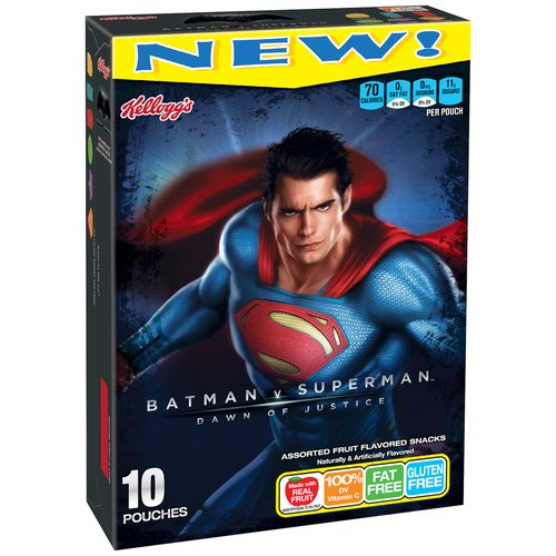 Kellogg's Batman v Superman Dawn of Justice Assorted Fruit Flavored Snacks, 10 count, 8 oz
